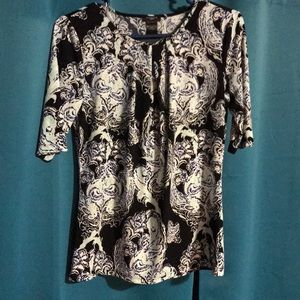 Ann Taylor black and aqua paisley top